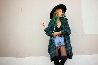 the river wolf blogger tartan denim shorts soft grunge
