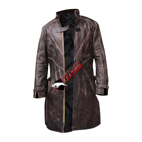 Watch Dogs Trench Coat Genuine Leather Jacket - Distressed Real Leather Coat