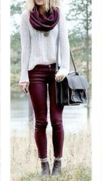 jeans shoes scarf bag back to school burgundy