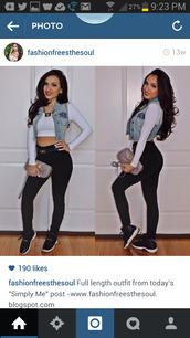shoes,jordans,bred 11s,denim jacket,longsleeve shirt,leggings,jeans