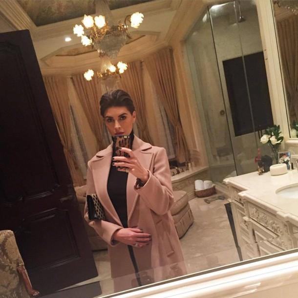 coat shiva safai pink coat top black top turtleneck hairstyles celebrity