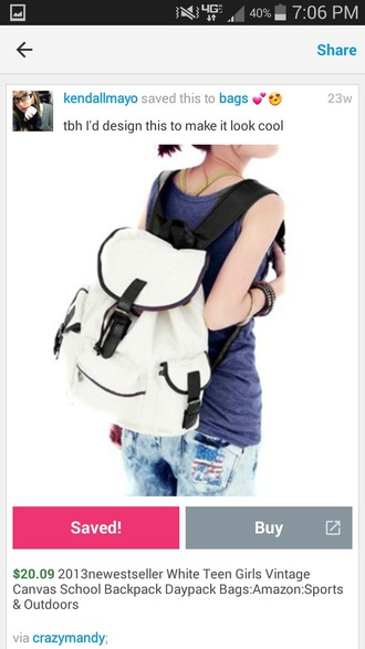 bag backpack purse back to school white backpack white purse