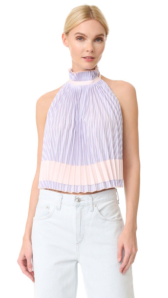 Adam Selman top pleated backless blush