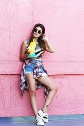 dulceida,blogger,crop tops,stripes,striped top,denim shorts,plaid shirt,adidas shoes,superstar,black sunglasses,summer holidays