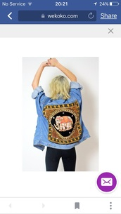 jacket,wekoko denim light blue jacket,embroidered,elephant,elephant print