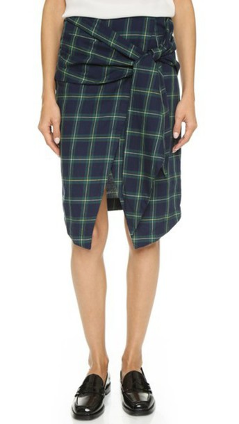 J.O.A. J.O.A. Front Tie Check Wrap Skirt - Navy