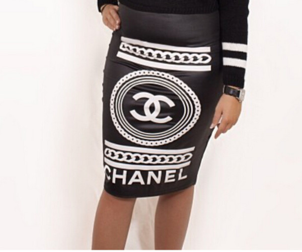 chanel skirt skirt brand pencil skirt black skirt print printed skirt