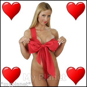 Naughty knot sexy lingerie red ribbon body bow underwear raunchy fun gift ♥new♥