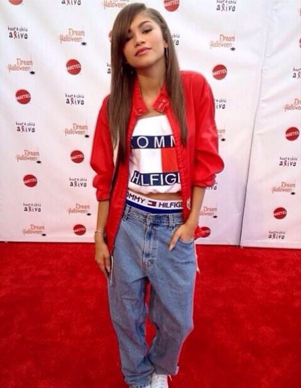 shirt jeans dope wishlist underwear coat tommy hilfiger crop top red jacket tommy hilfiger red navy zendaya