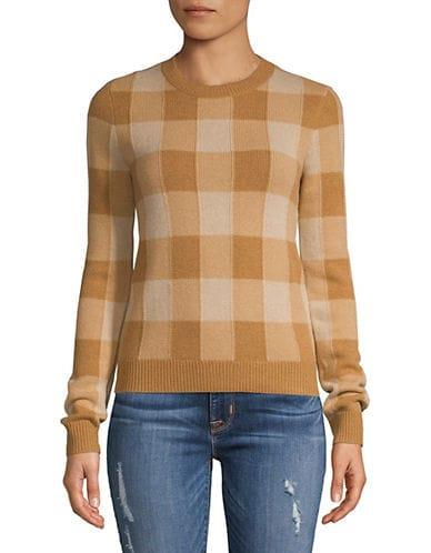Theory Women's Checkered Cashmere Sweater - Plaid/Camel - Size S