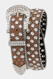 belt,betsy boo's boutique,rhinestones,brown,bling