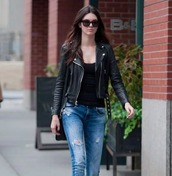 jacket,kendall jenner,leather jacket,black