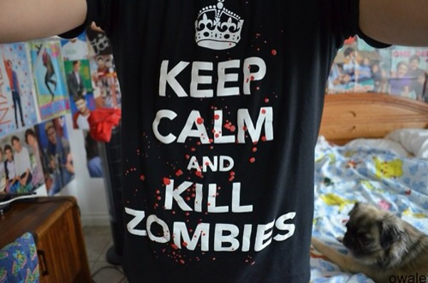 t-shirt zombie keep calm shirt