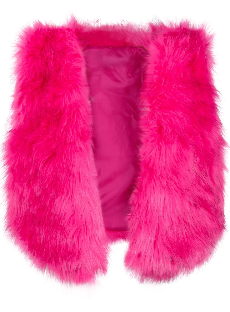 Rose Red Faux Fur Crop Vest - Sheinside.com