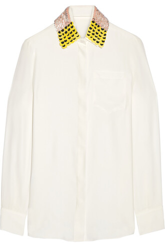 shirt embellished silk top