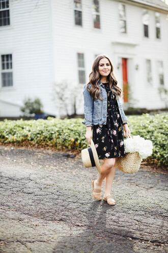 dress corilynn blogger dress jacket hat bag shoes sandals basket bag denim jacket spring outfits