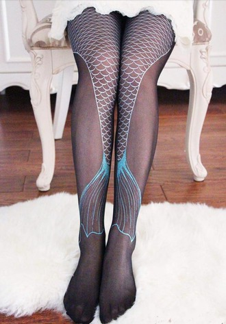 tights mermaid cute fashion majestic magical stockings blue white scales ocean cool unique different fin