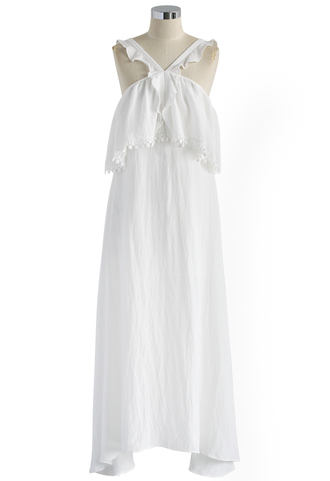 dress maxi dress white frilly cami dress