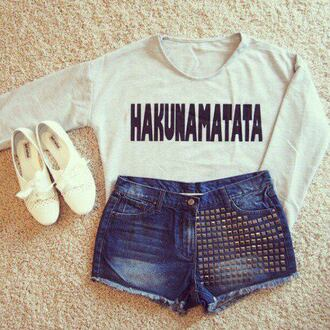t-shirt hakuna matata shirt love long sleeves shoes shorts short white blue top the lion king