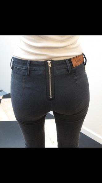 jeans back zipper black jeans skinny jeans