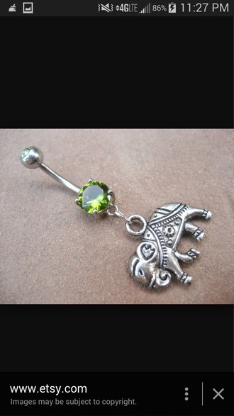 jewels elephant green belly ring green belly ring dangle