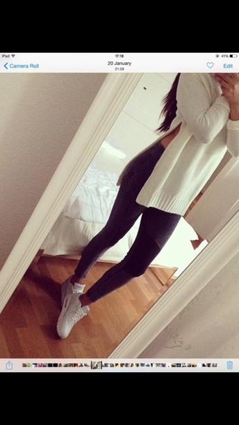 sweater zara slit top white sweater