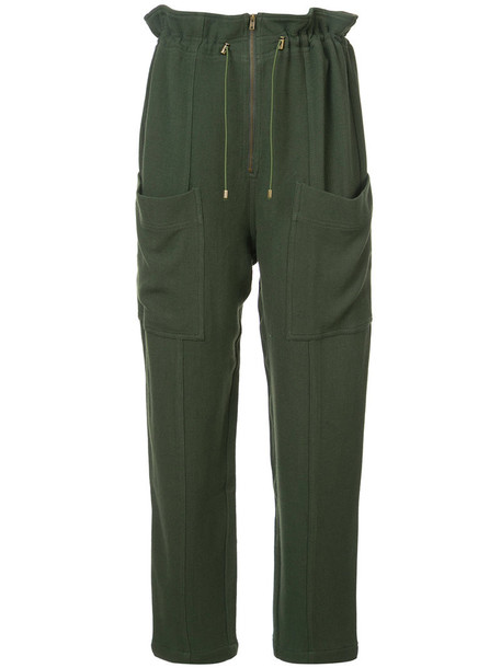 zip women drawstring wool green pants
