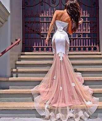 dress lace dress lacedetail gown prom dress prom promgown elegant white wedding dress weddinggown sheer peach wedding