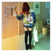 jacket,vintage,denim,print,rock,grunge,soft grunge,weird,hipser,repel,retro,comics