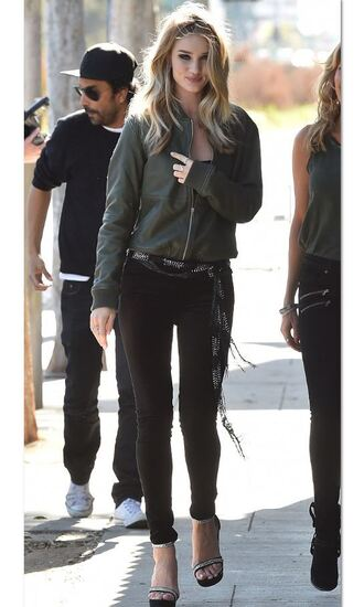 jacket rosie huntington-whiteley model sandals spring outfits skinny jeans green bomber jacket