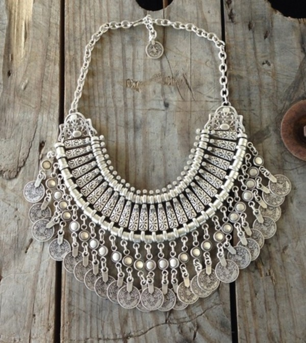 jewels necklace kintala joah brown silver bib boho bohemian