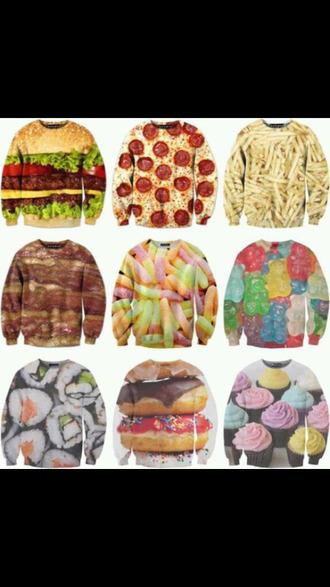the hamburger pizza shirt cupcake shirt sushi gummy bears pizza hamburger fries gummy worms bacon