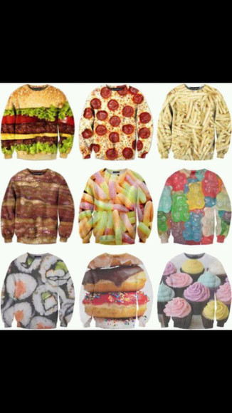hamburger fries pizza sushi gummy bears gummy worms bacon the hamburger pizza shirt cupcake