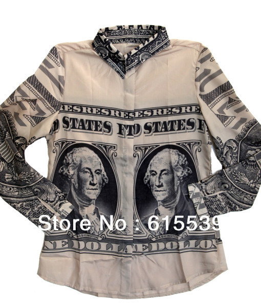 2014 Europe and America Dollar Bill Shirt Vintage Women Personality Dollar Note Banknote Printed Long Sleeved Tops-in Blouses & Shirts from Apparel & Accessories on Aliexpress.com