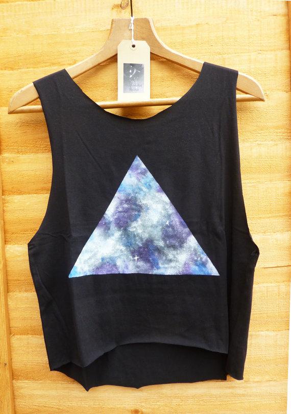 Galaxy triangle dipped hem vest ladies by nicereworkedvintage
