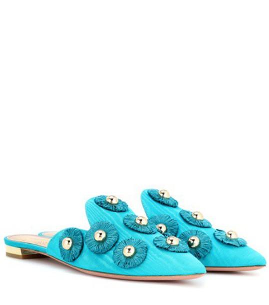 Aquazzura sunflower mules turquoise shoes