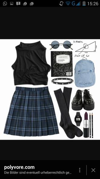 bag skirt black cute sunglasses backpack blue lipstick tumblr tumblr clothes socks soft grunge