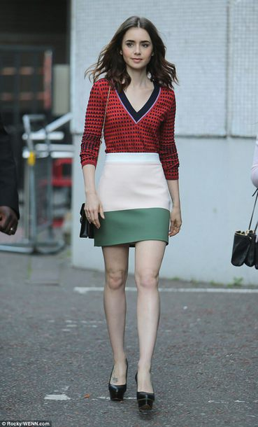 skirt blouse лили lily collins