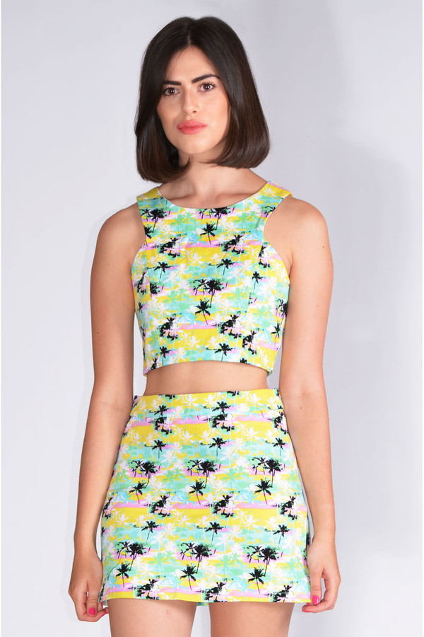 skirt yellow green palm tree print two-piece coords co-ordinates matching shirts Pop Couture