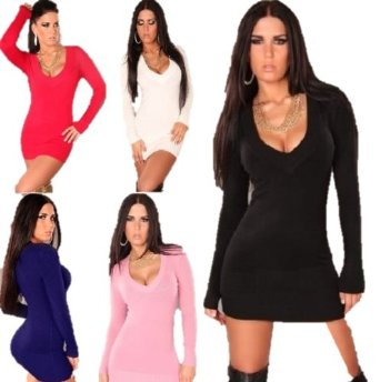 Elegant Stylish V neck Plain Sexy Knitted Mini Dress Tunic Jumper Sweater Great colours: White, Black, Navy, Red, Light Pink (Black): Amazon.co.uk: Clothing