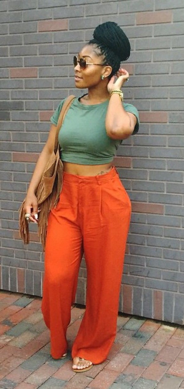 Jeans Pants Orange Orange Pants African American Box Braids Urban Sandals High Waisted