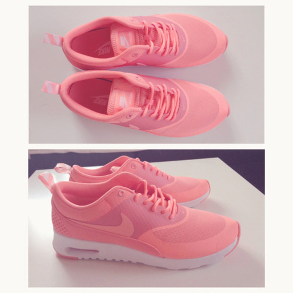 shoes pink nike sneakers nike air max thick sole pink nike airmax air max running shoes nikes air max thea salmon, pink, running shoes, sneakers, nikes