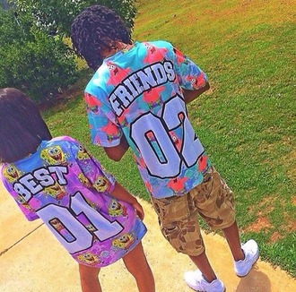 shirt bff best friend shirts spongebob patrick colorful