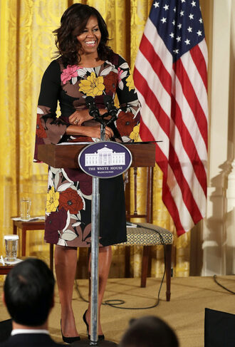 dress midi dress floral dress michelle obama first lady outfits