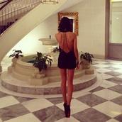 dress,black,chain,bead,open back,backless,short,romper,cut-out,backless dress