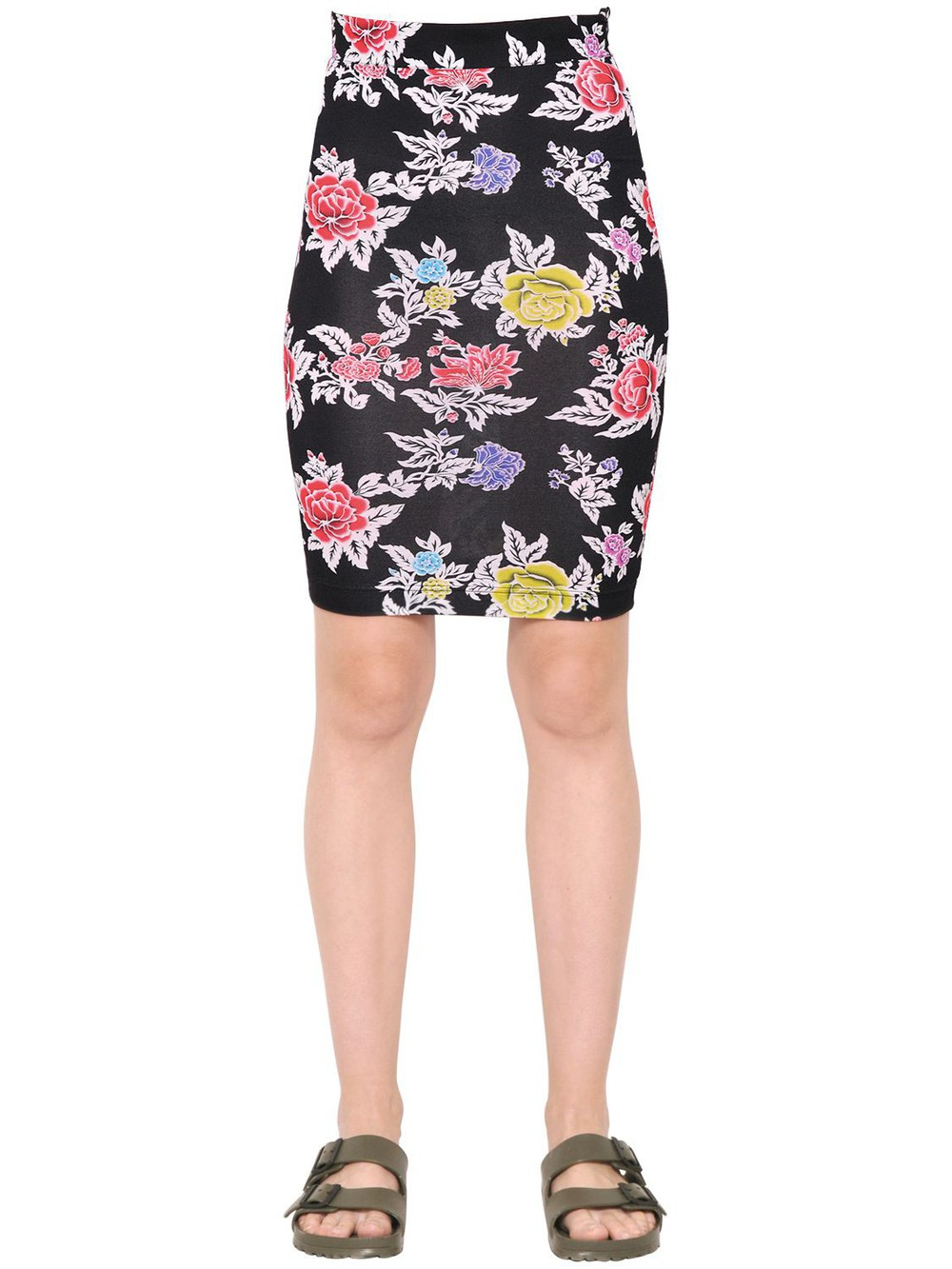 HOUSE OF HOLLAND Rose Printed Viscose Jersey Pencil Skirt in black / multi