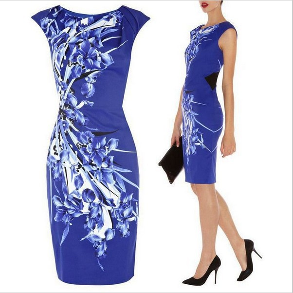 2014 Autumn Winter Fashion Women White Blue Porcelain Print Dress Plus Size Ol Style Work Wear