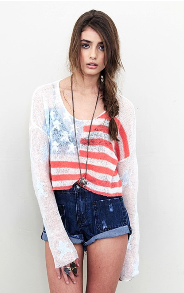 sweater born on the 4th july billy cropped sweater wildfox shorts