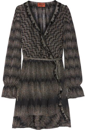 dress wrap dress knit metallic ruffle black crochet