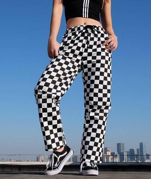 pants girly checkered checkered pants tumblr black black and white